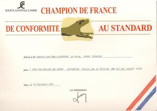 """Joon """"Von Quellen Der Déôme"""" (RottF) Titre de Championne de France de Conformité au standart"""